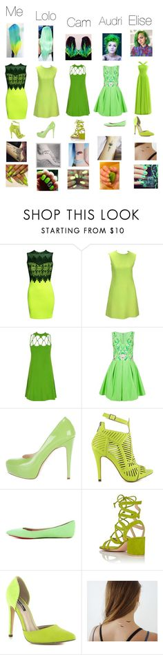 """BFF💜//LIME GREEN"" by novastar111 ❤ liked on Polyvore featuring Pilot, Notte by Marchesa, Brian Atwood, Michael Antonio, Joe's Jeans, Gianvito Rossi, shlomitofir, Lime Crime and Manic Panic NYC"
