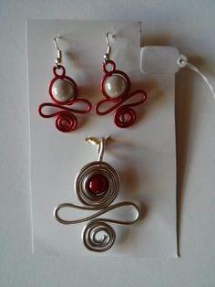 Pendentif et Boucles d'Oreilles en fil aluminium Rouge et Argent avec Perle Magique  : Parure par cathybijoux