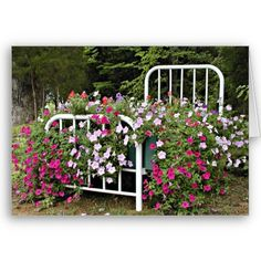 Gardening Flowers flowerbed card - white bed frame filled with petunia's, literally a flowerbed Raised Flower Beds, Raised Garden Beds, Landscaping With Rocks, Backyard Landscaping, Landscaping Ideas, Inexpensive Landscaping, Garden Art, Garden Design, Garden Plants