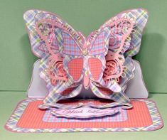 Layered Butterfly Easel - Pink Patchwork - CUP528093_173 | Craftsuprint 3d Cards, Easel Cards, Butterfly Mobile, Patchwork Designs, Pretty Cards, Card Making, Layers, Pearl, Pink