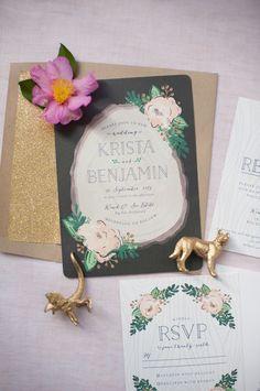 Gold glitter + floral wedding invitations: http://www.stylemepretty.com/california-weddings/big-sur/2015/11/29/rustic-glam-outdoor-destination-wedding-in-big-sur/   Photography: Sandra Fazzino - http://www.sandrafazzino.com/index2.php