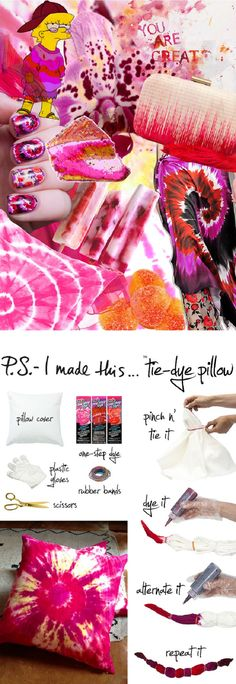 Tie-dye pillow.  Great idea to give as a gift for someone who just moved in a new home. Or, great way to give a new touch to your interior!