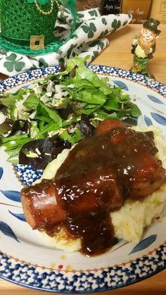 St. Patrick's Day dinner, Bangers & Mash at http://joannsfoodbites.com/bangers-and-mash/