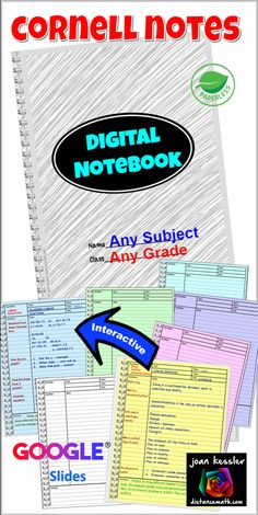 Cornell Notes Digital Interactive Notebook for all grades and subjects. Perfect way for students to take notes and learn to organize. Science Classroom, School Classroom, Google Classroom, Classroom Tools, Classroom Labels, Cornell Notes Template, Secondary Math, Flipped Classroom, English Classroom