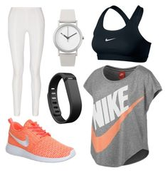 Workout Clothing by kaylaherring97 on Polyvore featuring polyvore, fashion, style, NIKE, Donna Karan, Normal Timepieces and Fitbit