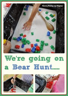 chapter 8 Going on a Goopy Bear Hunt.A fun sensory activity incorporating fine motor skills, cokour recognition, classification and counting. Mummy Musings and Mayhem Sensory Bins, Sensory Activities, Sensory Play, Preschool Activities, Activities For Kids, Sensory Table, Sensory Motor, Sensory Rooms, Physical Activities
