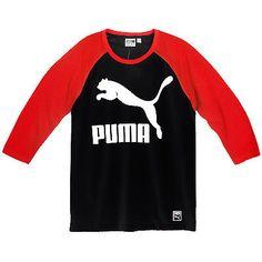 Puma Archive Logo Raglan Tee Mens 570855-01 Black Red Long Sleeve Shirt Size S