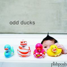 Meet Slim, Bob, Jane and Squish. They're the Odd Ducks by Boon Inc. Unlike those other ducks, they're PVC free, and they don't hold water, so they won't grow that black mold that kids always try to suck out. $24.99 - makes a great gift!  http://www.pishposhbaby.com/boon-odd-ducks-4pk---multicolor-purple.html