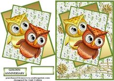 Anniversary Owl on Craftsuprint designed by Gail Collins - such a cute image for a golden anniversary,with a blank sentiment tag for any occasion - Now available for download!