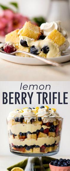 This show-stopping lemon berry trifle recipe includes lemon pound cake, fresh berries, a lemon cheesecake filling, and fresh whipped cream. Recipe on sallysbakingaddic… Trifle Desserts, Lemon Desserts, Summer Desserts, Just Desserts, Lemon Trifle, Berry Trifle, Lemon Cheesecake, Berry Cake, Cake Recipes