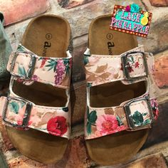 Floral Birkenstock style sandals available size 9-4 @ $19.95 each #thelacepineapple #birkenstock #floral #sandals #toddler #youth