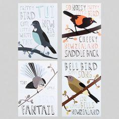 Alice Berry Print Set - Birds - Prints & Posters | NZ Art Prints & Poster Store | endemicworld.com