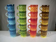 Fire King Anchor Hocking Kimberly Mugs Cups Blue Red Green Yellow