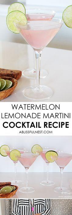 Watermelon Lemonade Martini Cocktail Recipe The perfect summer cocktail recipe! Delicious watermelon lemonade martini recipe… – Cocktails and Pretty Drinks Summer Martinis, Refreshing Summer Cocktails, Vodka Cocktails, Summer Drinks, Cocktail Drinks, Cocktail Recipes, Dinner Recipes, Frozen Cocktails, Vodka Lemonade