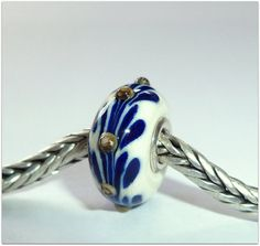 Luccicare Lampwork Bead - Antique Blue Twig -  Lined with Sterling Silver