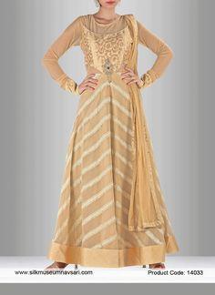 Stylish Cream Georgette Party Wear Anarkali Suit
