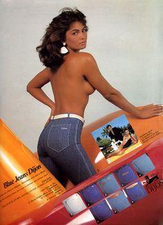 Luiza Brunet esbanjando sensualidade na campanha do Blue Jeans Dijon, em 1983.