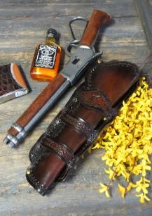 Mares Leg Gun Leather Holsters - Open and Closed