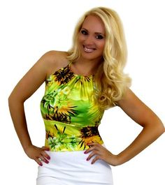 Ladies Hawaiian Green Stretch Print Tie Back Halter Top (OSFA) Jackie's Boutique http://www.amazon.com/dp/B00JSX6XBK/ref=cm_sw_r_pi_dp_AXRwub12NVH1F