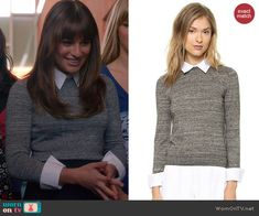 Rachel's grey collared sweater on Glee.  Outfit Details: http://wornontv.net/43443/ #Glee