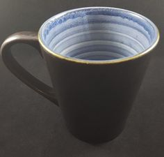Starbucks Coffee Mug Made in Portugal Brown with Blue and White Interior Rings  #Starbucks