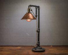 Pipe Lighting, Barn Lighting, Lighting Design, Office Lighting, Lamp Design, Rustic Table Lamps, A Table, Light Table, Industrial Table Lamps
