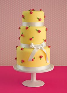 'Rose and Yellow' wedding cake by Maisie Fantasie Wedding Cakes London - http://www.maisiefantaisie.co.uk/rose-and-yellow-wedding-cake.html#