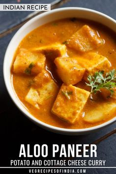 Who doesn't like potatoes and cheese? If you do then you have to try this aloo paneer recipe! This curry dish comes from the Punjabi region and is so delicious especially when paired with paratha or cumin rice. Try this amazing recipe tonight! Vegetarian Curry, Vegetarian Recipes Easy, Veg Recipes, Curry Recipes, Potato Recipes, Indian Food Recipes, Cooking Recipes, Healthy Recipes, Healthy Food