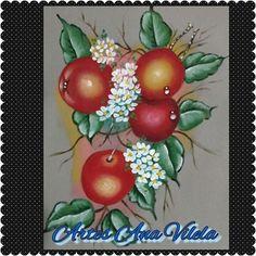 Artes Ana Vilela : pintura em tecido cerejas