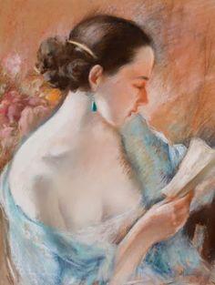 Emile Hornung (Suiça, 1883 - 1956) Jovem mulher de cabelos negros lendo, c. 1920, pastel sobre papel,60 x 45 cm