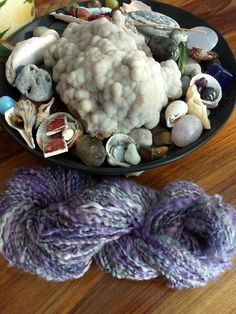 """Lavender Fog"" handspun locks, mohair and silk, 90 yards of bulky    weight yarn..."