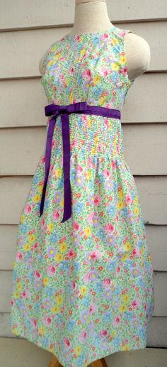Floral Sundress XS 1950's Inspired Hand by Lachellybelly on Etsy Upcycled vintage linen with purple tie waist.  $75.