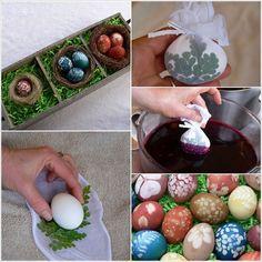 Uova di Pasqua decorate con the e foglie