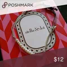 Stella and Dot - Wisdom bracelet White and silver delicate bracelet Stella & Dot Jewelry Bracelets