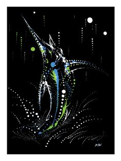 Marlin Giclee Open Edition Print of Original Acrylic Painting on Etsy, $28.00