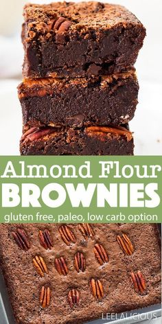 These almond flour brownies are fudgy, rich chocolate brownies using almond flour. With their combination of coconut oil, almond flour. Almond Flour Desserts, Baking With Almond Flour, Almond Flour Recipes, Sugar Free Desserts, Sugar Free Recipes, Gluten Free Desserts, Almond Flour Waffles, Almond Flour Cakes, Baking Recipes