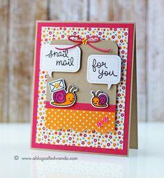Snail mail!  Card by Wanda Guess. Lawn Fawn Gleeful Gardens stamp set. Pretty Pink Posh dies.