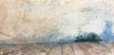 'Ploughed Dorset Field' by Jessica Gale. Pastel painting on mount board 12 x 21 cm