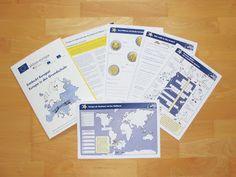 Kostenlose Unterrichtsmappe zum Thema Europa in der Grundschule mit zahlreichen Arbeitsblättern und einem Begleitheft für Lehrer. Geography Lessons, Kindergarten, Homeschool, Teacher, Science, Education, Games, Projects, Kids