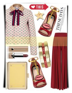 """""""Gucci"""" by thestrawberryfields ❤ liked on Polyvore featuring Gucci, See by Chloé, Valentino, Marc Jacobs, valentino, gucci, widelegpants and spikeclutch"""