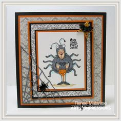 Art Impressions Rubber Stamps: More Candy.  Available at Hobby Lobby.  Handmade Halloween card.  spiders, web