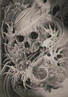 skull tattoo japanese design