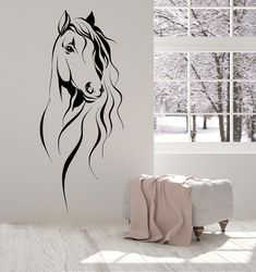Vinyl Wall Decal Horse Head Pet Animal Art Decor Stickers Unique Gift in X in / Gold Metallic Vinyl Wall Decals, Wall Stickers, Horse Wall Decals, Horse Mural, Horse Wall Art, Diy Wall Decor, Art Decor, Wall Painting Decor, Decor Ideas