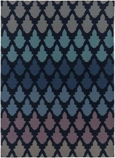 Frontier Contemporary Navy Teal Cobalt Wool Area Rug (L 132 X W 96)