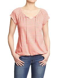 Women's Striped Splitneck Tops