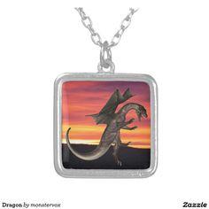 Dragon Square Pendant Necklace #Dragon #Creature #Fantasy #Necklace #Jewelry #Fashion #Pendant