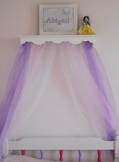 DIY bed crowns. Cheap and cute, Doing this for the girls room. With peach, white and green.