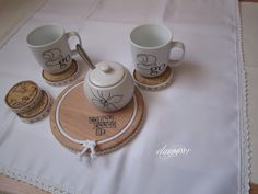 """12 Projects for Home"" 2nd edition. Project by Ela (elau66wr.blogspot.com). Wooden coasters with lace and string"