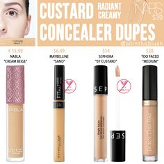 "I have another NARS Concealer dupe to share with you! The next shade up on the dupe list is ""Custard"", a shade for medium skin. Nars Concealer Custard, Nars Concealer Dupe, Beste Concealer, Eyeshadow Dupes, Nars Radiant Creamy Concealer, Highlighter Makeup, Cream Concealer, Highlighters, Urban Decay Concealer"