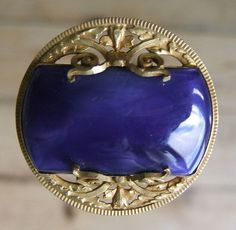 LOVELY LARGE VINTAGE SINGLE FANCY BLUE AND GILT BUTTON